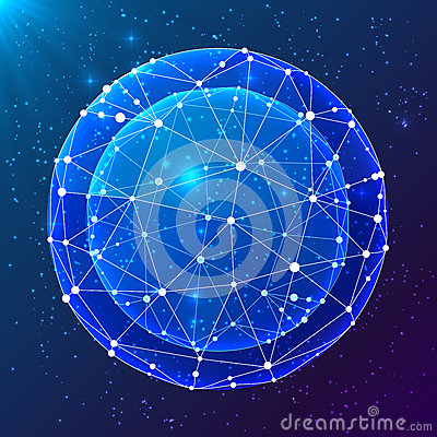 Blue abstract cosmic vector ball