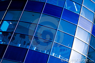 Blue abstract crop of modern office