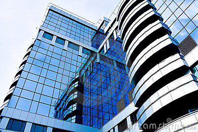 Blue abstract diagonal crop of modern office