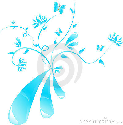 Blue abstract floral design