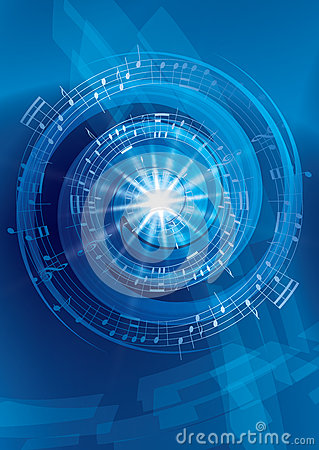 Blue abstract music vector background -  flyer