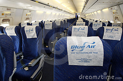 Blue Air airplane interior Editorial Stock Photo