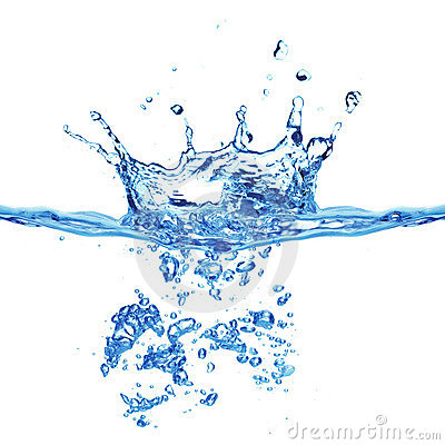 Blue air bubbles in water