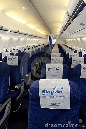 Blue Air empty plane  Editorial Stock Photo
