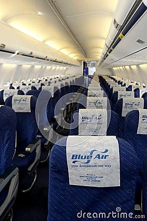 Blue Air empty plane Editorial Stock Photo