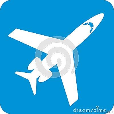 Blue Airplane Symbol