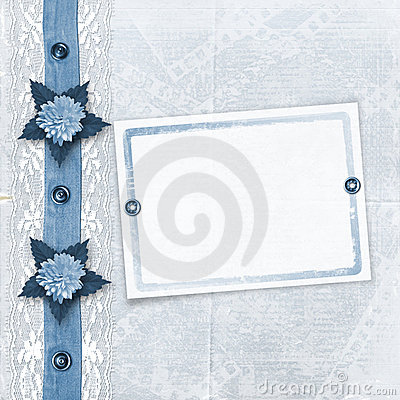 Blue album for photos with lace
