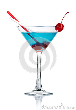 Free Blue Alcohol Cocktail In Martini Glass Isolated Stock Photography - 24774442