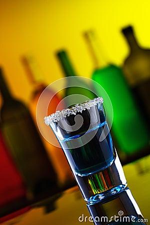 Blue alcohol shot drink