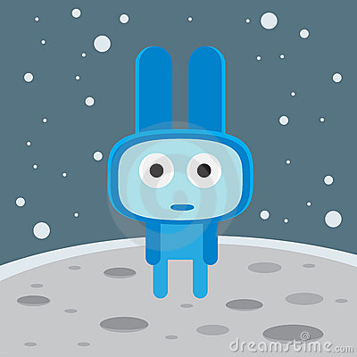 Blue alien on the moon character