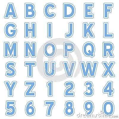 Blue Alphabet Stickers Icons