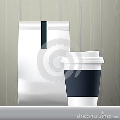 Free Blue Anchor Coffee Cup And Food Paper Bag Breakfast Set Stock Images - 64087324