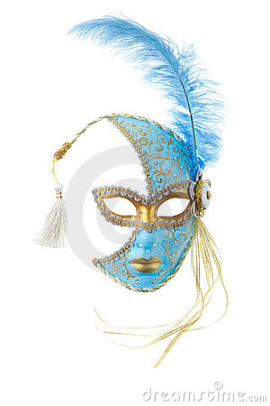 Free Blue And Gold Feathered Mask Royalty Free Stock Photos - 12866458