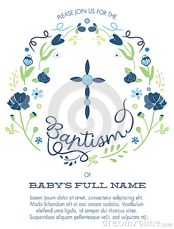 Free Blue And Green Boy S Baptism/Christening Invitation With Cross Design And Flowers - Hight Resolution Or Vector Stock Image - 51330991