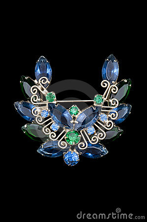 Free Blue And Green Vintage Wreath Brooch Royalty Free Stock Images - 18171369