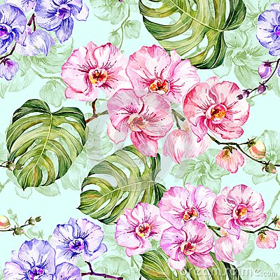 Free Blue And Pink Orchid Flowers With Outlines And Large Green Monstera Leaves On Light Blue Background. Seamless Pattern. Stock Photos - 109290303