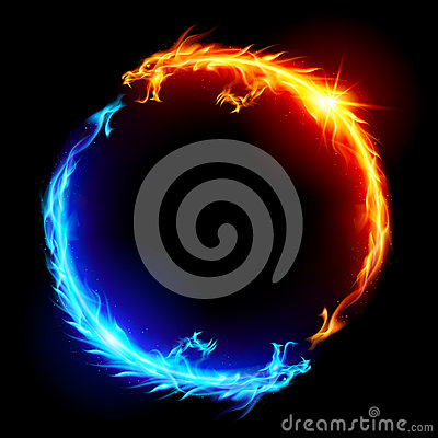 Free Blue And Red Fire Dragons Royalty Free Stock Image - 25216876