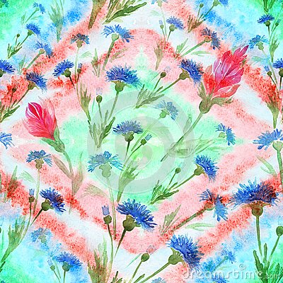 Free Blue And Red Flowers On The Background Of Watercolor. Watercolor Painting . Wallpaper. Seamless Pattern. Use Printed Materials, Si Royalty Free Stock Image - 104453596