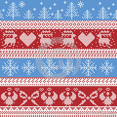 Free Blue And Red Nordic Christmas Winter  Pattern With Reindeer,rabbits, Xmas Trees, Angels, Bow In Scandinavian Style Cross Stitch Stock Images - 59082364