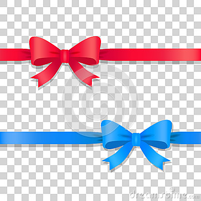 Free Blue And Red Ribbons With Bows. Cartoon Design Stock Photography - 87434602
