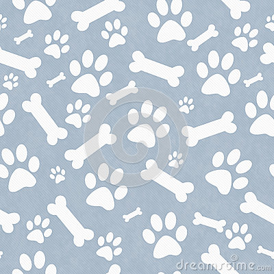 Free Blue And White Dog Paw Prints And Bones Tile Pattern Repeat Back Stock Photos - 59049923