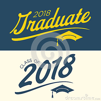 Free Blue And Yellow Class Of 2018 Graduate Vector Graphic With Gradu Royalty Free Stock Image - 88690956
