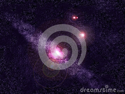 Blue Andromeda galaxy and stars space background