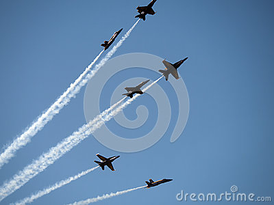 Blue Angel Planes flying above San Francisco sky Editorial Stock Photo