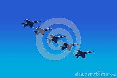 Blue Angels Flying in Unison Editorial Stock Image