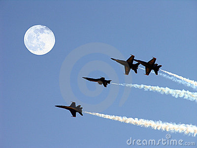 Blue Angels And Full Moon