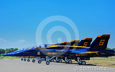 Blue Angels on runway Editorial Stock Photo