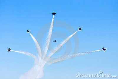 Blue Angels Smoke Formation Editorial Photography
