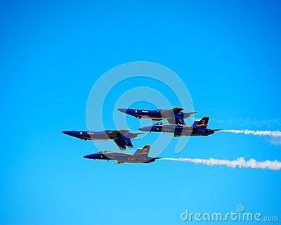 Blue Angles Inverted Formation Editorial Photography
