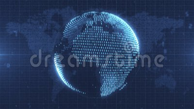 Blue animated Earth made from numerical data. Blue tinted animated motion graphic of data Earth model rotating in space royalty free illustration