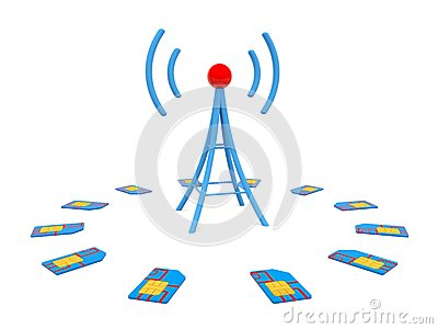 Blue antenna with sim cards