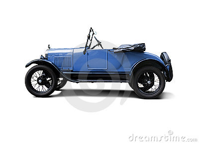 Blue antique convertible buggie style automobile