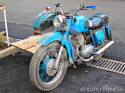 Blue Antique Motorcycle