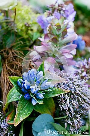 Blue arrangement for funeral