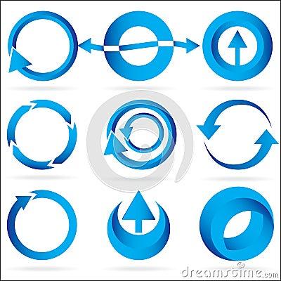 Free Blue Arrow Circle Design Element Icon Set Royalty Free Stock Photo - 10770905