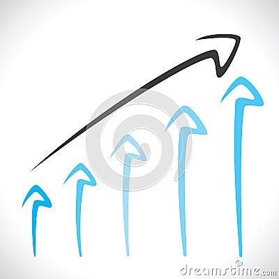Blue arrow market graph background