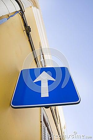 Blue arrow roadsign