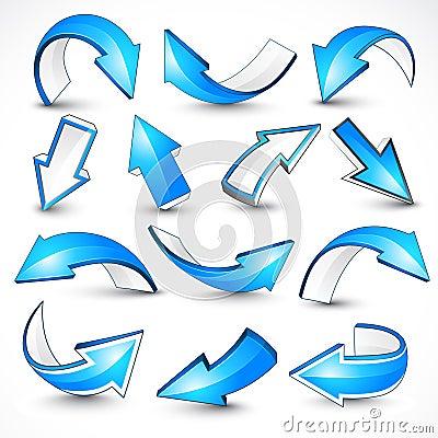 Free Blue Arrows. Vector Illustration Royalty Free Stock Photos - 16872348