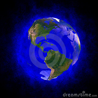 Blue aura of Earth - America