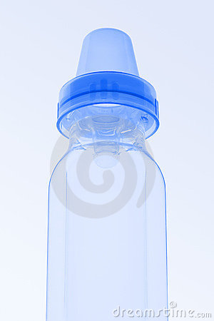 Blue baby bottle