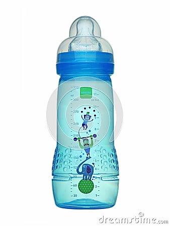 Free Blue Baby Bottle. Stock Image - 31157561