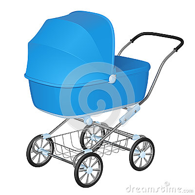 Blue baby carriage - cradle for newborn boy Vector Illustration