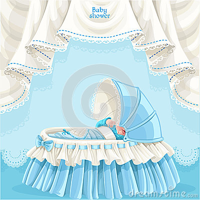 Blue baby shower card with newborn baby in the cri