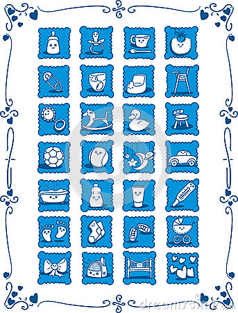 Blue Baby Theme Cartoon Icons