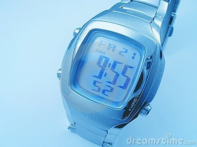 Blue background with  electronic timer