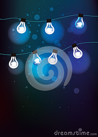 Blue background with light bulbs